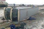 В Красноярском крае автобус вылетел в кювет и опрокинулся