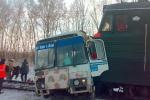 В Подмосковье автобус столкнулся с грузовым составом