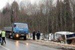 На автотрассе Екатеринбург – Челябинск автобус «догнал» КАМАЗ